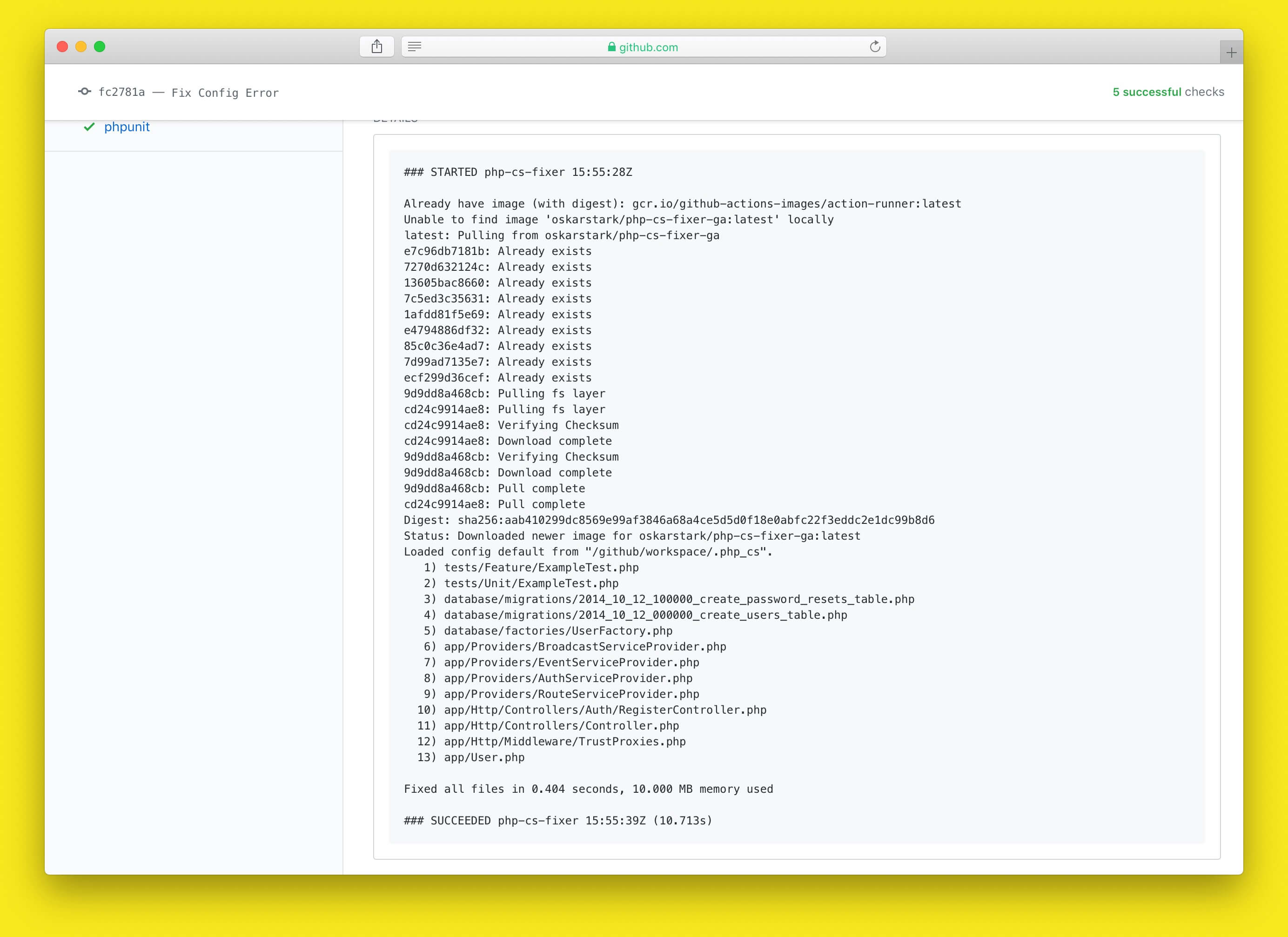 Screenshot of Output of php-cs-fixer Action